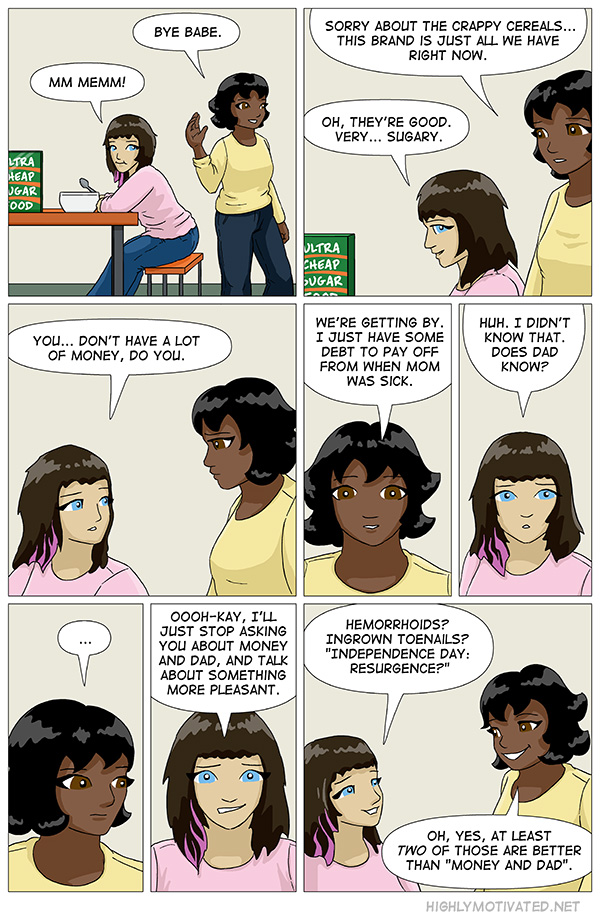 """""""Highly Motivated"""" continues to be a webcomic about how to avoid serious conversations."""